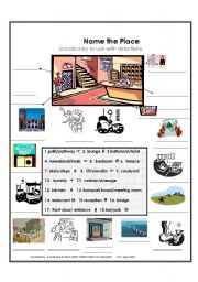 English Worksheet: Name the Place -vocab to assist with directions  with ANSWER KEY