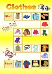English Worksheet: board game - clothes