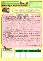 English Worksheets: Reading Comprehension - Twelve Dancing Princesses
