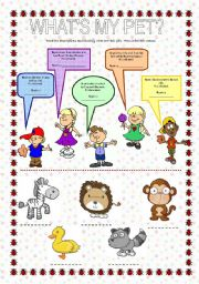 English Worksheets: What�s my pet?