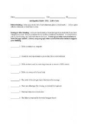 English Worksheet: Anticipation Guide for Genetics