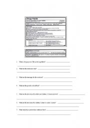 English Worksheet: Reading Over the Counter Medicine Labels