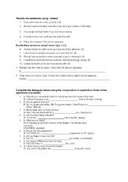 English Worksheet: Rewrites for if type1 and 2 and unless and comprative and superlative adjectives worksheet