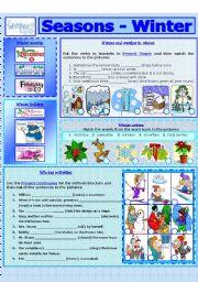 English Worksheet: SEASONS - WINTER (7 - 8)