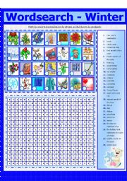 English Worksheets: WORDSEARCH - WINTER (8 - 8)