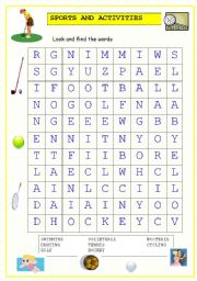 English Worksheet: Sports and Activities Wordsearch