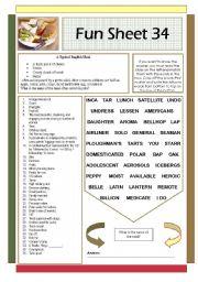 English Worksheets: Fun Sheet 34