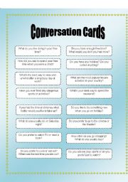 conversation cards hobbies esl worksheet by fernandyka. Black Bedroom Furniture Sets. Home Design Ideas