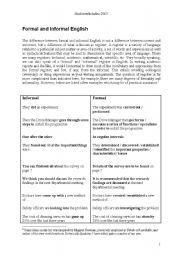English Worksheets: formal vs. informal