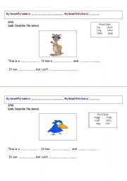 English Worksheets: Look. Describe the animal. 2pages worksheet