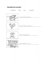 English Worksheets: describe the animals