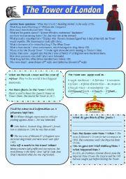 English Worksheet: Tower of London - answer key