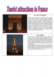 English Worksheet: Tourist Attractions in France