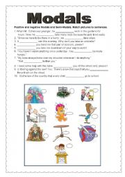 English worksheet: Modals and Tenses (2 pages)