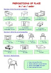 English Worksheet: Prepositions of place in/on/under