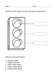 english worksheets colour the traffic light. Black Bedroom Furniture Sets. Home Design Ideas