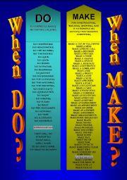 English Worksheets: DO or MAKE? - BOOKMARKS