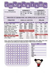 English Worksheets: COMPARATIVES & SUPERLATIVES (1/2) + WORDSEARCH + STICKS