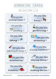 English Worksheet: SPEAKING CARDS  - Do you like...? (part 4)