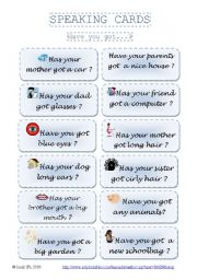 English Worksheets: SPEAKING CARDS _ Have you got...? (part 2)