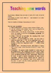 English Worksheets: Teachin new words