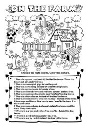 English Worksheet: On the farm - There is... /are... (prepositions of place)