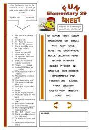English Worksheets: Fun Sheet Elementary 29