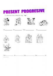 English Worksheets: Present progresive