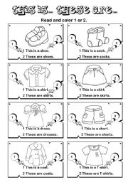 English Worksheet: This is ... These are... series (1/7)