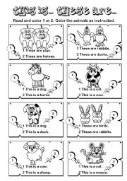 English Worksheet: This is... These are ... series (2/7)