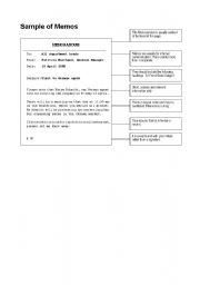 English Worksheet: Sample of Memo