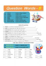 English Worksheets: Question Words - B