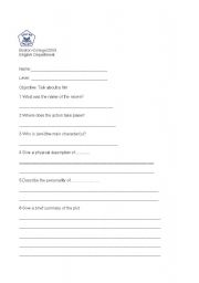 English Worksheets: Let�s talk about a movie