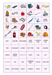 English Worksheets: Outdoors - memory game cards
