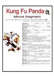 KUNG FU PANDA MOVIE SEGMENT-SCRIPT ACTIVITY