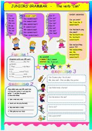English Worksheet: JUNIOR GRAMMAR- THE VERB