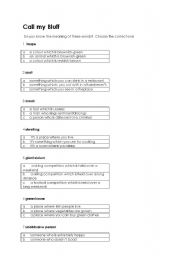 English worksheet: Call my Bluff : students´ own work