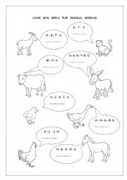 English Worksheets: Look and spell the animal words