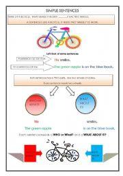 English Worksheet: SIMPLE SENTENCES  - THE BICYCLE ANALOGY