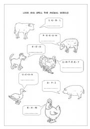 English Worksheets: Look and spell the animal words 2