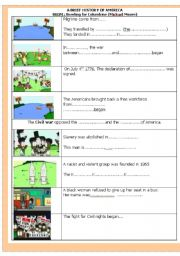 English Worksheet: bowling for columbine: a brief history of America with pictures