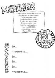 English Worksheet: MOTHER´S DAY POEM + ACTIVITY!