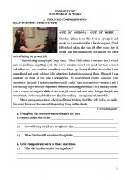 English Worksheet: Test on The world of work