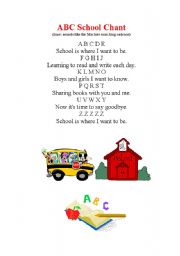 English Worksheet: abc school chant
