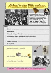 english worksheet school in the 19th century. Black Bedroom Furniture Sets. Home Design Ideas