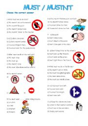 English Worksheet: must-mustn´t
