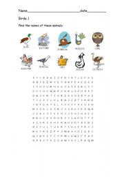 English Worksheets: Birds 1