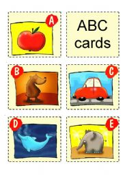 English Worksheet: ABC CARDS + GAMES - 1/3