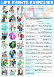 English Worksheets: LIFE EVENTS - EXERCISES