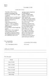 English worksheet: Reading comprehension about John Lennon